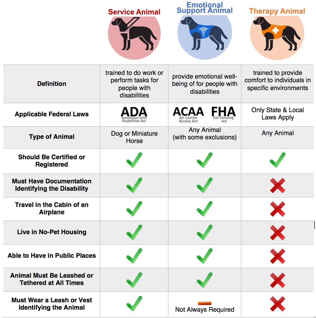 What's the difference between a service dog and emotional support animal?